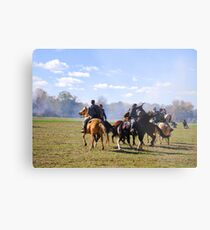 Fighting it Out On Horseback Metal Print