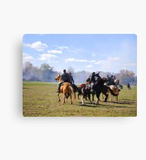 Fighting it Out On Horseback Canvas Print