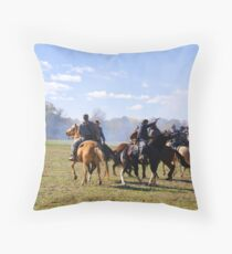 Fighting it Out On Horseback Throw Pillow