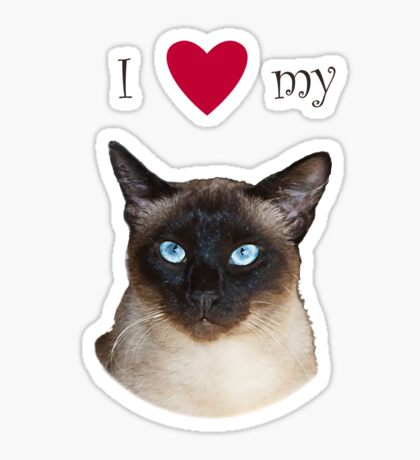 I Love my (old style) Siamese Sticker