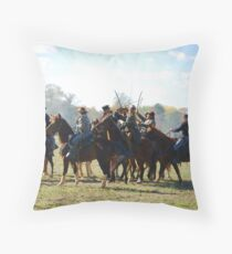 Fighting it Out On Horseback 2 Throw Pillow