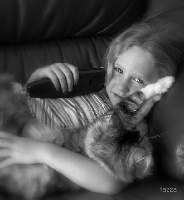 granddaughter&her cat by fazza