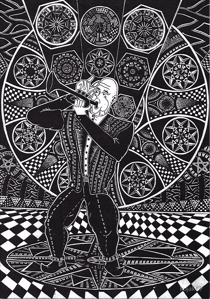 Jazz Musician 1990 - Triptych Part 1, Ink Drawing by RIYAZ POCKETWALA