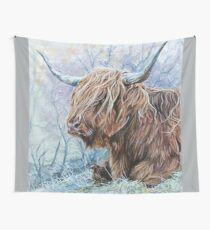 highland cow on a frosty winters day. Wall Tapestry