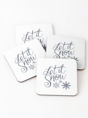 Let It Snow (blue) Coasters