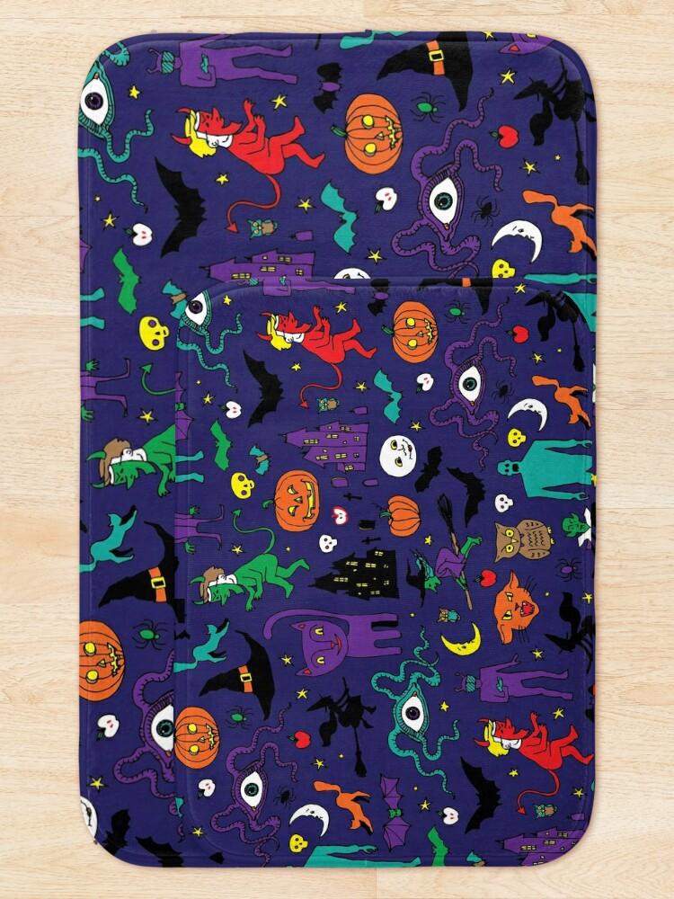 Alternate view of Retro Halloween - original - Halloween pattern by Cecca Designs Bath Mat