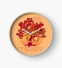 """""""Not Every Season is For Growing"""" Fall Dragon Forest Spirit Clock"""