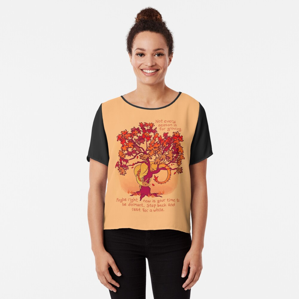 """""""Not Every Season is For Growing"""" Fall Dragon Forest Spirit Chiffon Top"""
