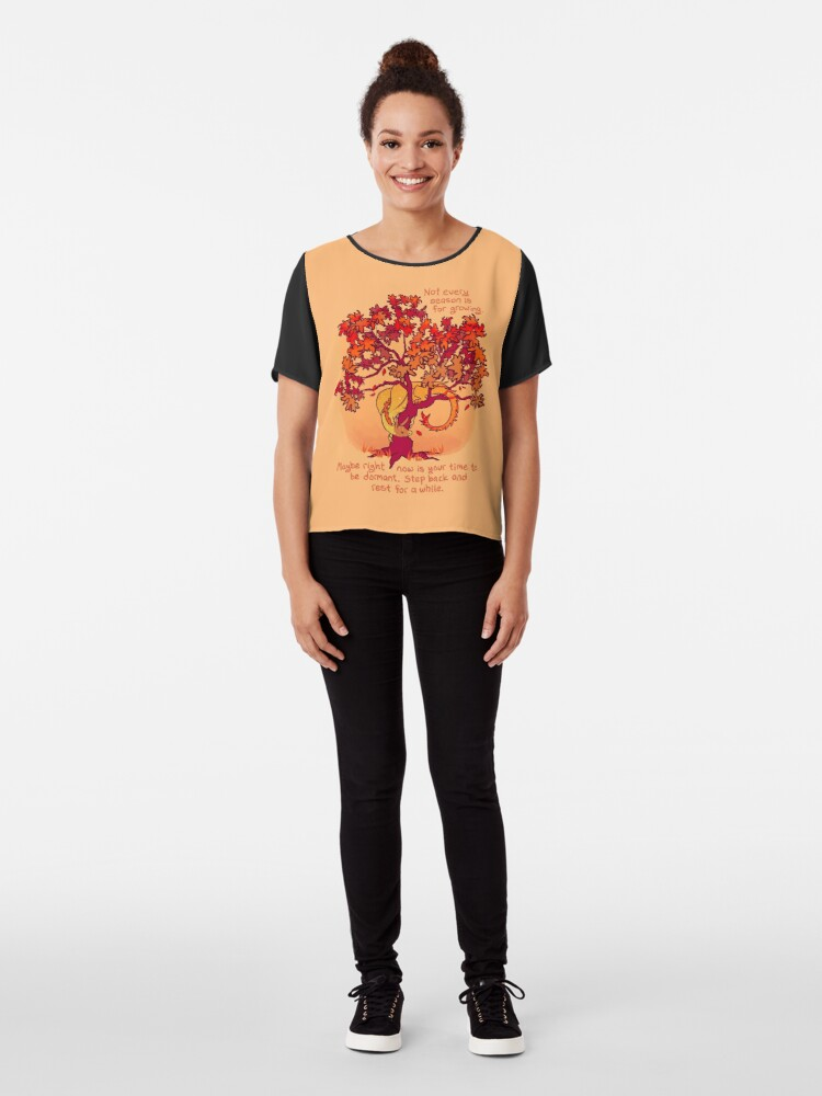"""Alternate view of """"Not Every Season is For Growing"""" Fall Dragon Forest Spirit Chiffon Top"""