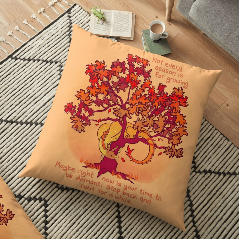 """""""Not Every Season is For Growing"""" Fall Dragon Forest Spirit Floor Pillow"""