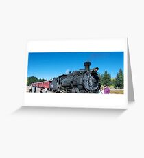 Steam engine train tour Greeting Card