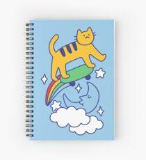 Cat Flying On A Skateboard Spiral Notebook