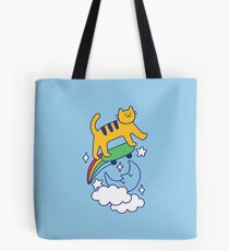Cat Flying On A Skateboard Tote Bag