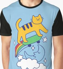 Cat Flying On A Skateboard Graphic T-Shirt