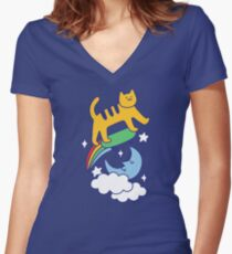 Cat Flying On A Skateboard Fitted V-Neck T-Shirt