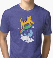 Cat Flying On A Skateboard Tri-blend T-Shirt