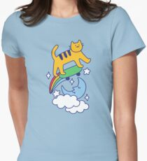 Cat Flying On A Skateboard Fitted T-Shirt