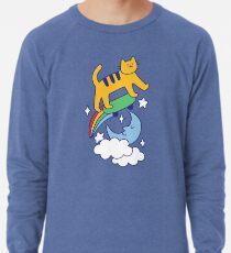 Cat Flying On A Skateboard Lightweight Sweatshirt