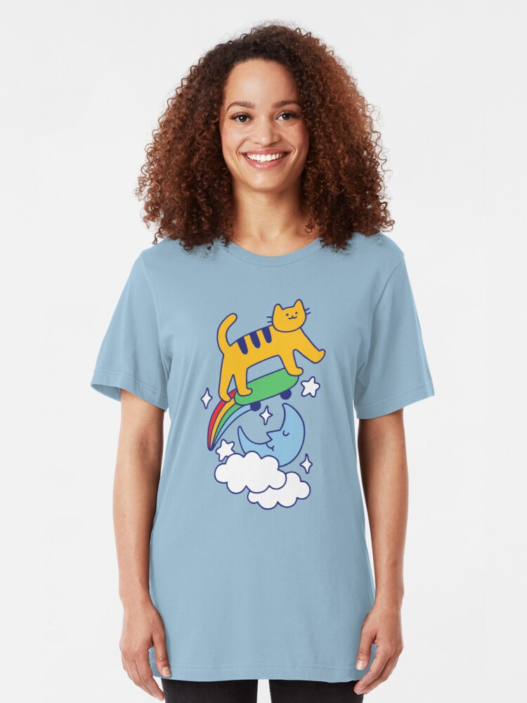 Alternate view of Cat Flying On A Skateboard Slim Fit T-Shirt