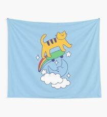 Cat Flying On A Skateboard Wall Tapestry