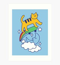 Cat Flying On A Skateboard Art Print