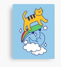 Cat Flying On A Skateboard Canvas Print