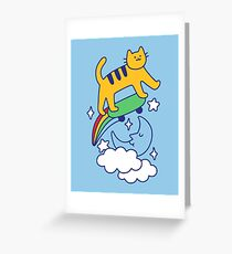 Cat Flying On A Skateboard Greeting Card