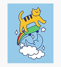 Cat Flying On A Skateboard Photographic Print