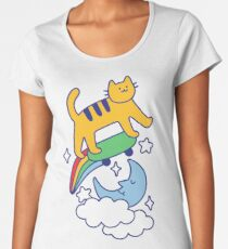 Cat Flying On A Skateboard Premium Scoop T-Shirt