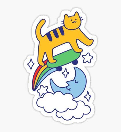 Cat Flying On A Skateboard Glossy Sticker