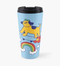 Dog Flying On A Skateboard Travel Mug
