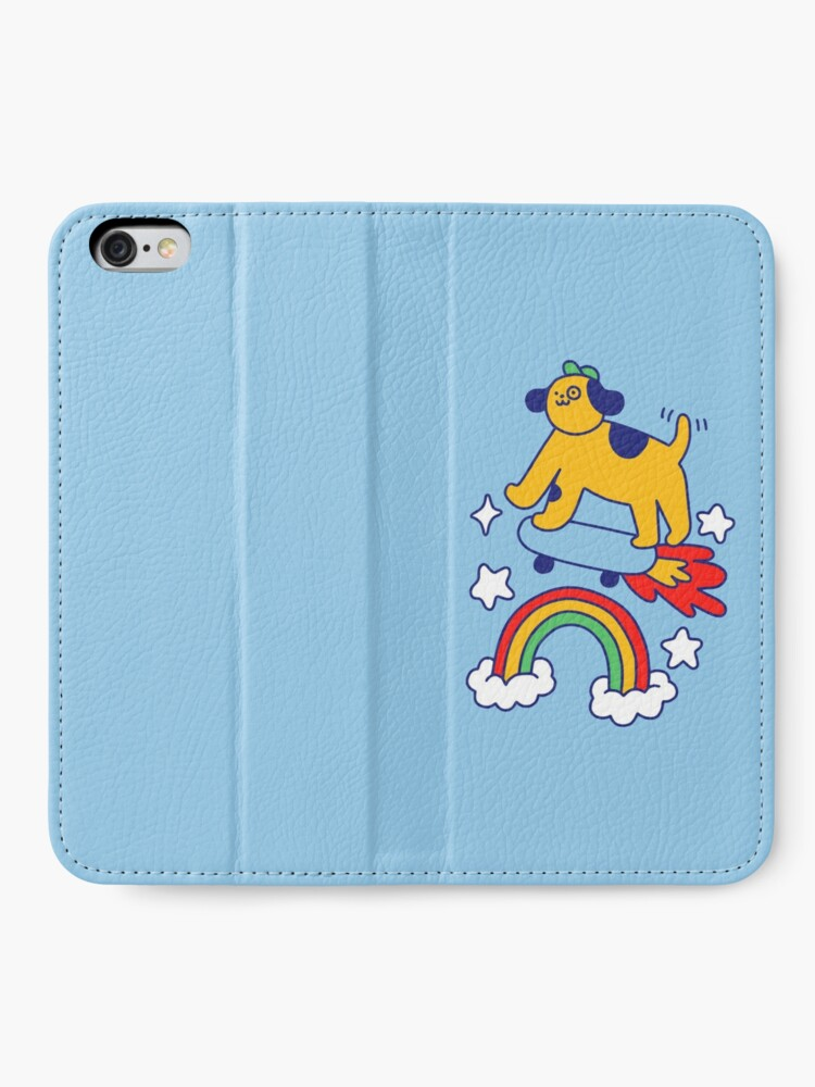 Alternate view of Dog Flying On A Skateboard iPhone Wallet