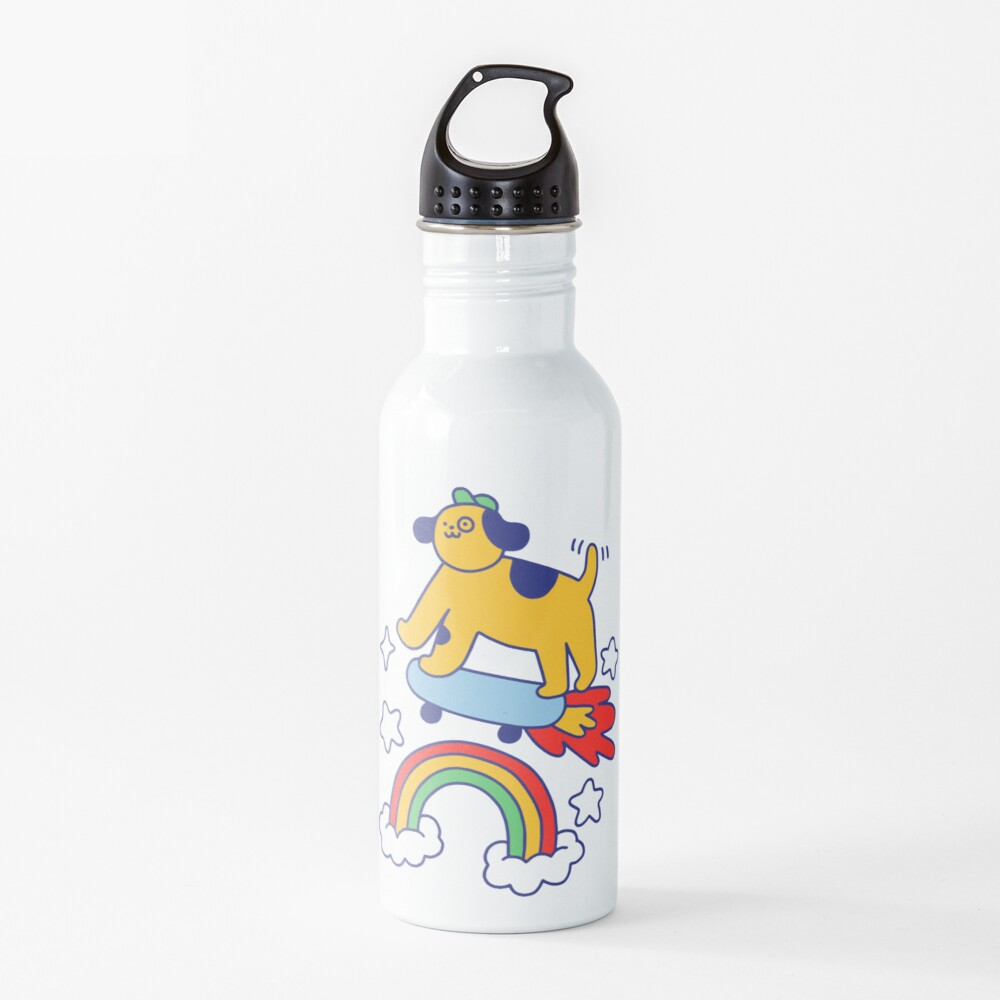 Dog Flying On A Skateboard Water Bottle