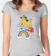 Dog Flying On A Skateboard Fitted Scoop T-Shirt
