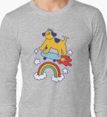 Dog Flying On A Skateboard Long Sleeve T-Shirt