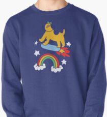Dog Flying On A Skateboard Pullover Sweatshirt