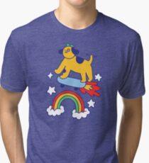 Dog Flying On A Skateboard Tri-blend T-Shirt