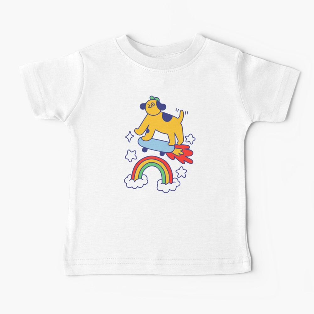 Dog Flying On A Skateboard Baby T-Shirt