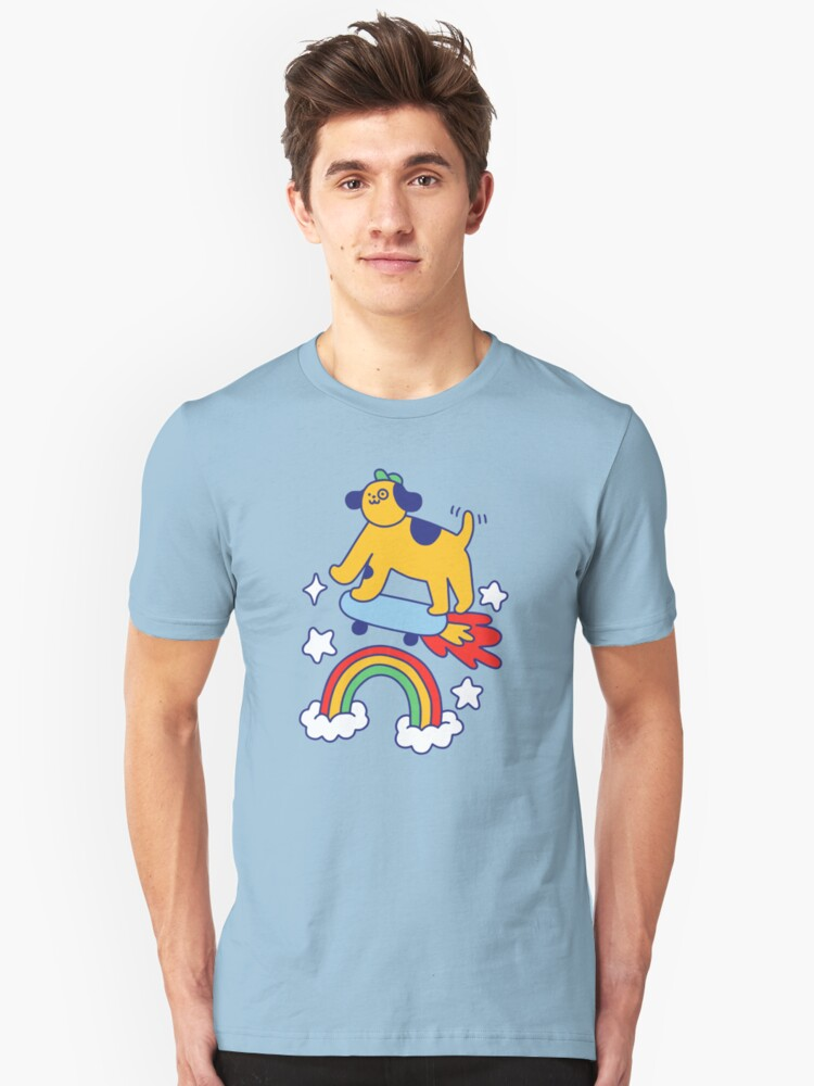 Alternate view of Dog Flying On A Skateboard Slim Fit T-Shirt