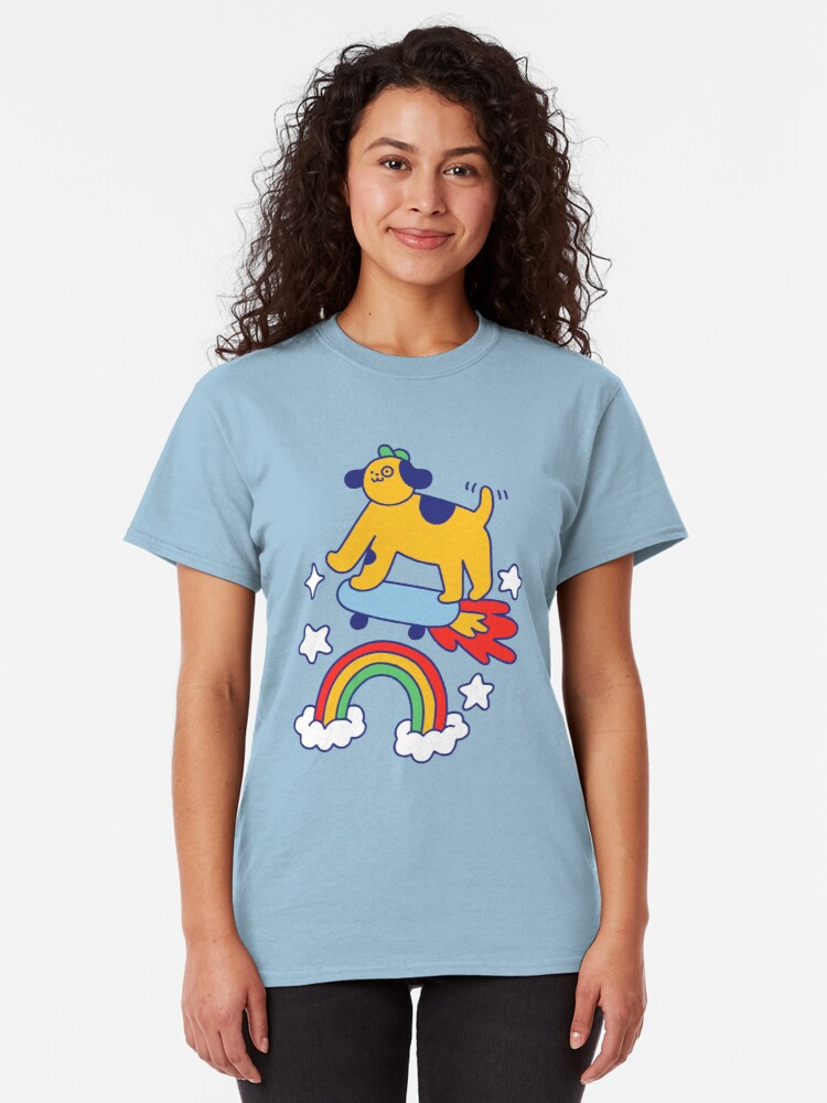 Alternate view of Dog Flying On A Skateboard Classic T-Shirt