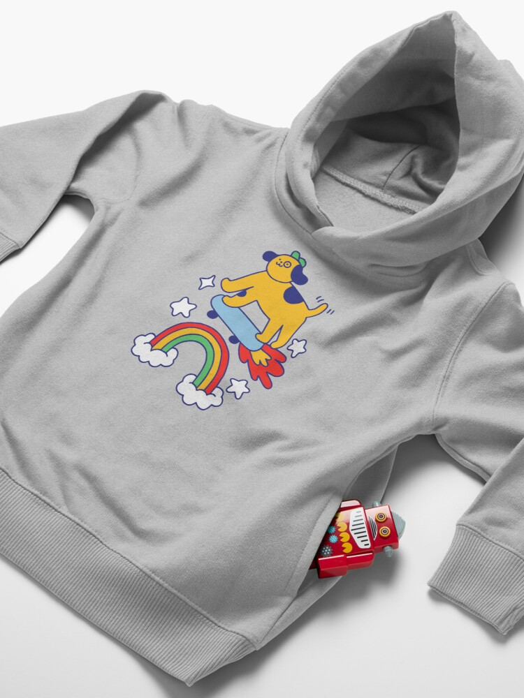 Alternate view of Dog Flying On A Skateboard Toddler Pullover Hoodie