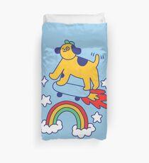 Dog Flying On A Skateboard Duvet Cover