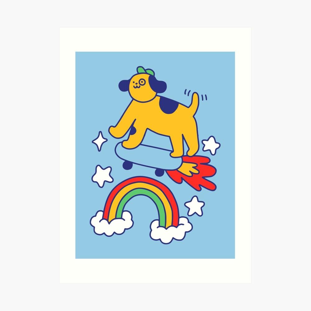 Dog Flying On A Skateboard Art Print