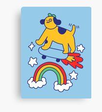 Dog Flying On A Skateboard Canvas Print