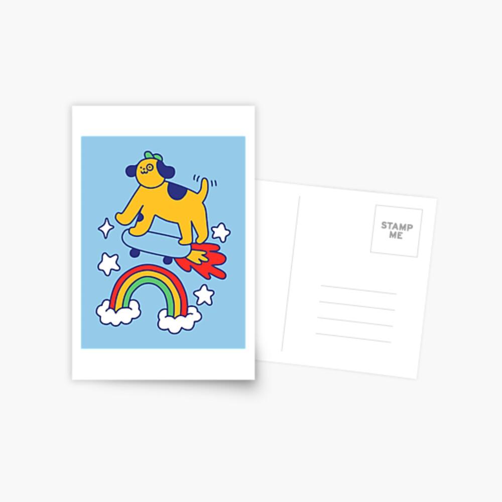 Dog Flying On A Skateboard Postcard