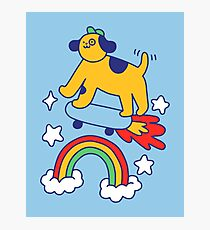 Dog Flying On A Skateboard Photographic Print