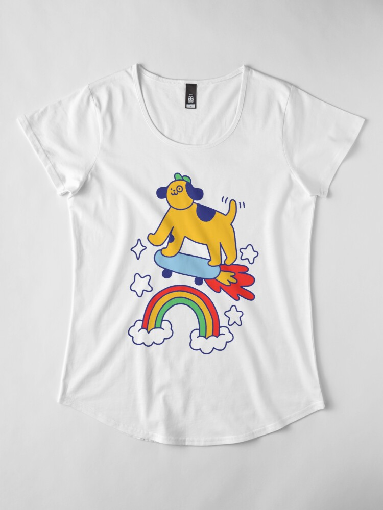 Alternate view of Dog Flying On A Skateboard Premium Scoop T-Shirt