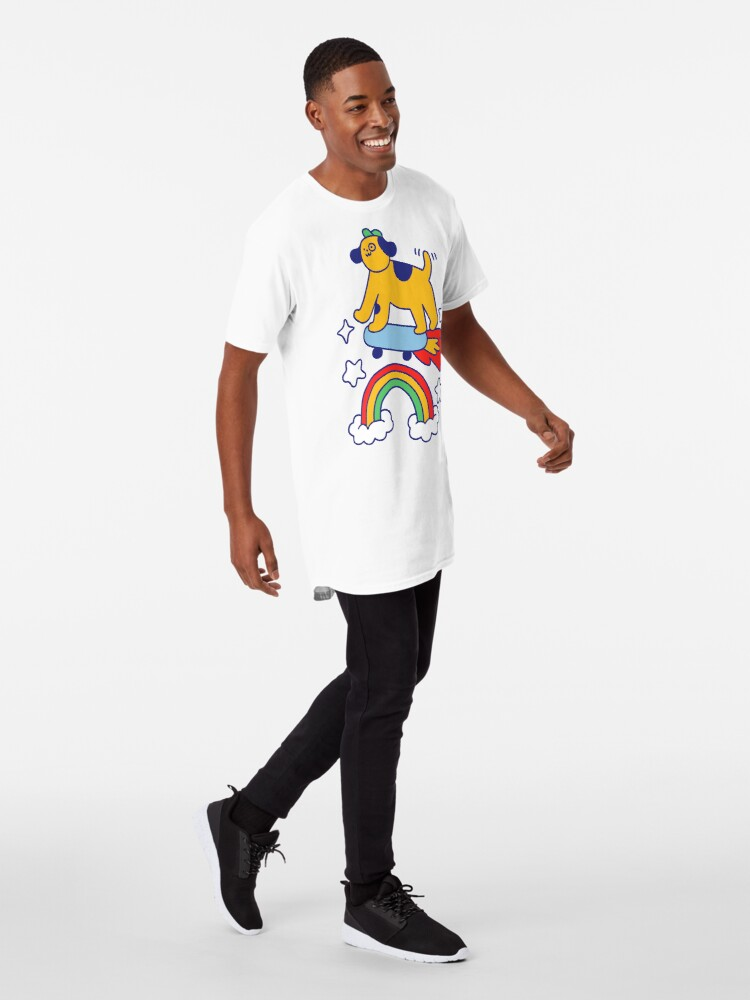 Alternate view of Dog Flying On A Skateboard Long T-Shirt