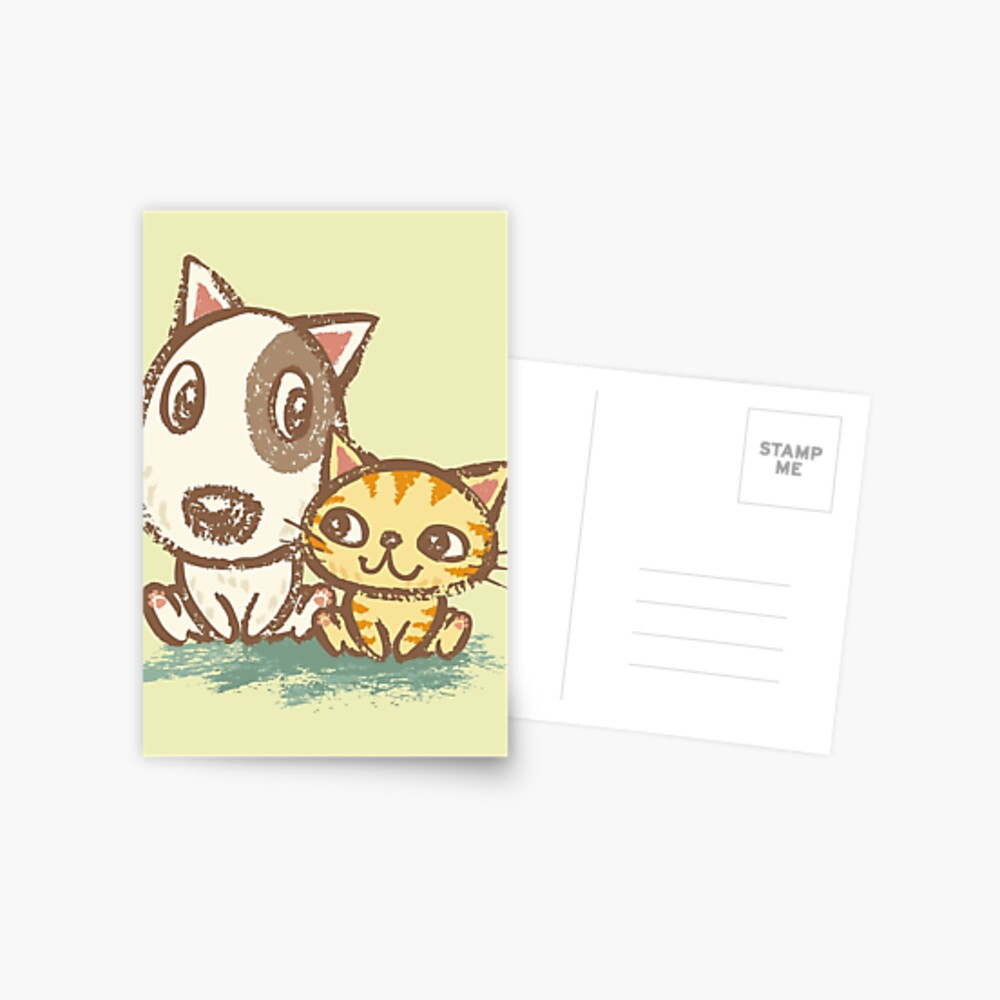 Dog and cat with good relations Postkarte