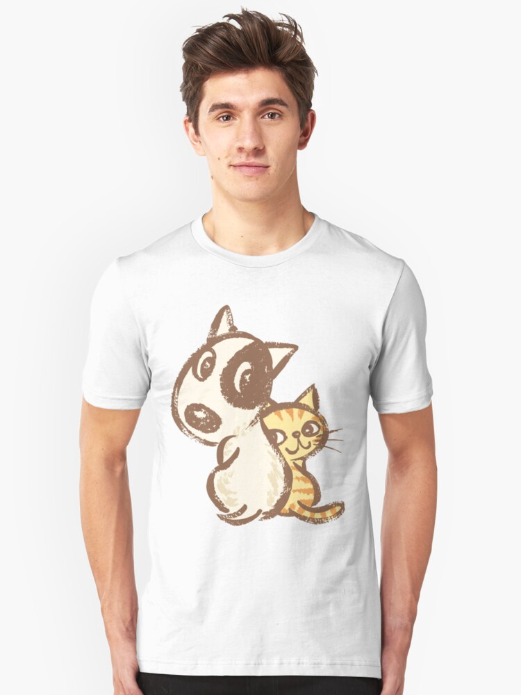 Dog and cat are turning around Unisex T-Shirt Front